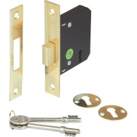 Brass Finish Mortice 3 Lever Deadlock - 45mm Backset